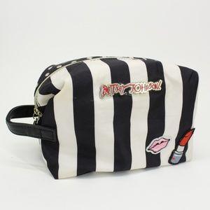 Betsy Johnson Black & White Striped Makeup Bag